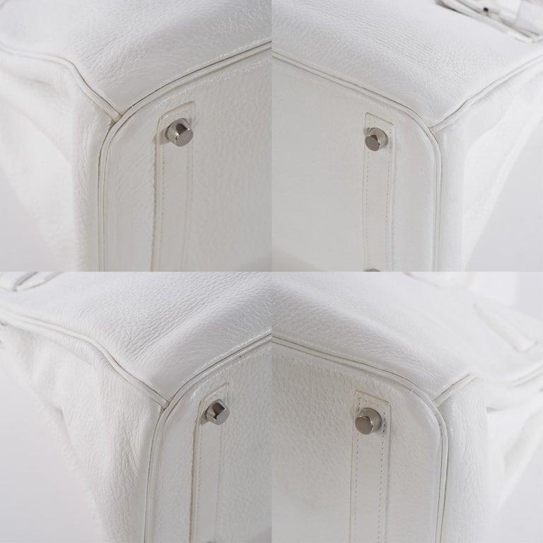 Hermes Birkin 30 in white Togo leather, Palladium Hardware, excellent condition! For Sale 2