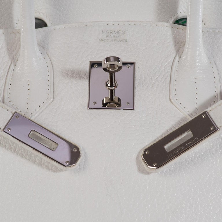 Hermes Birkin 30 in white Togo leather, Palladium Hardware, excellent condition! For Sale 4