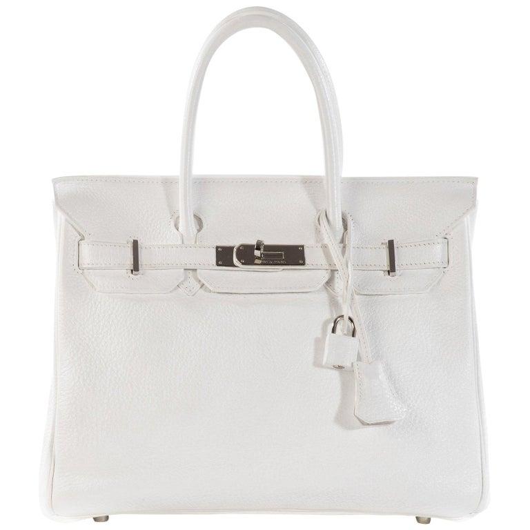 Hermes Birkin 30 in white Togo leather, Palladium Hardware, excellent condition! For Sale