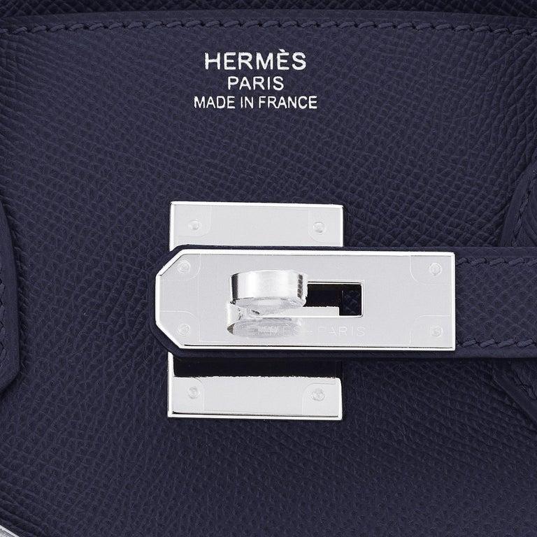 Hermes Birkin 30 Indigo Jewel Tone Navy Blue Epsom Palladium Bag Y Stamp, 2020 For Sale 6