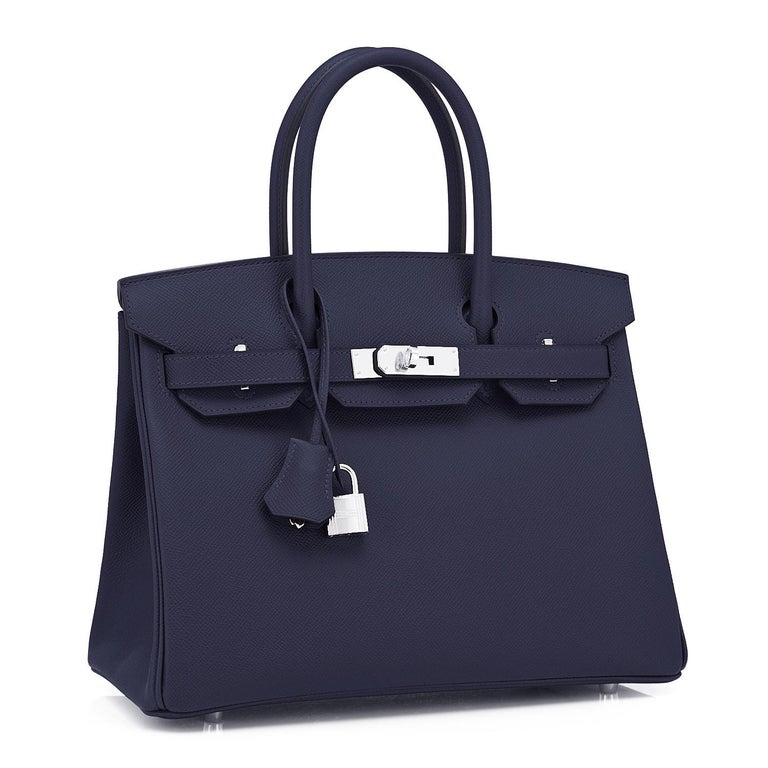 Hermes Indigo Navy Blue Birkin 30cm Epsom Palladium Bag Y Stamp, 2020 Devastatingly gorgeous!! One of the sexiest combinations we have ever seen! Brand New in Box.  Store Fresh.  Pristine Condition (with plastic on hardware). Just purchased from
