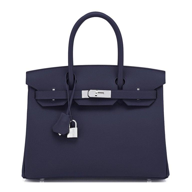 Hermes Birkin 30 Indigo Jewel Tone Navy Blue Epsom Palladium Bag Y Stamp, 2020 In New Condition For Sale In New York, NY