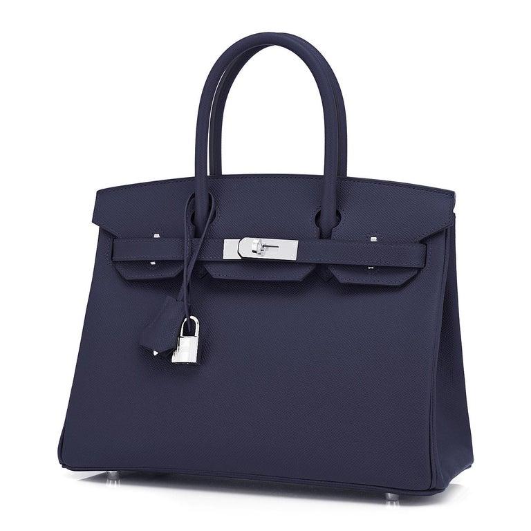 Women's or Men's Hermes Birkin 30 Indigo Jewel Tone Navy Blue Epsom Palladium Bag Y Stamp, 2020 For Sale