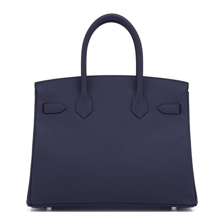 Hermes Birkin 30 Indigo Jewel Tone Navy Blue Epsom Palladium Bag Y Stamp, 2020 For Sale 1