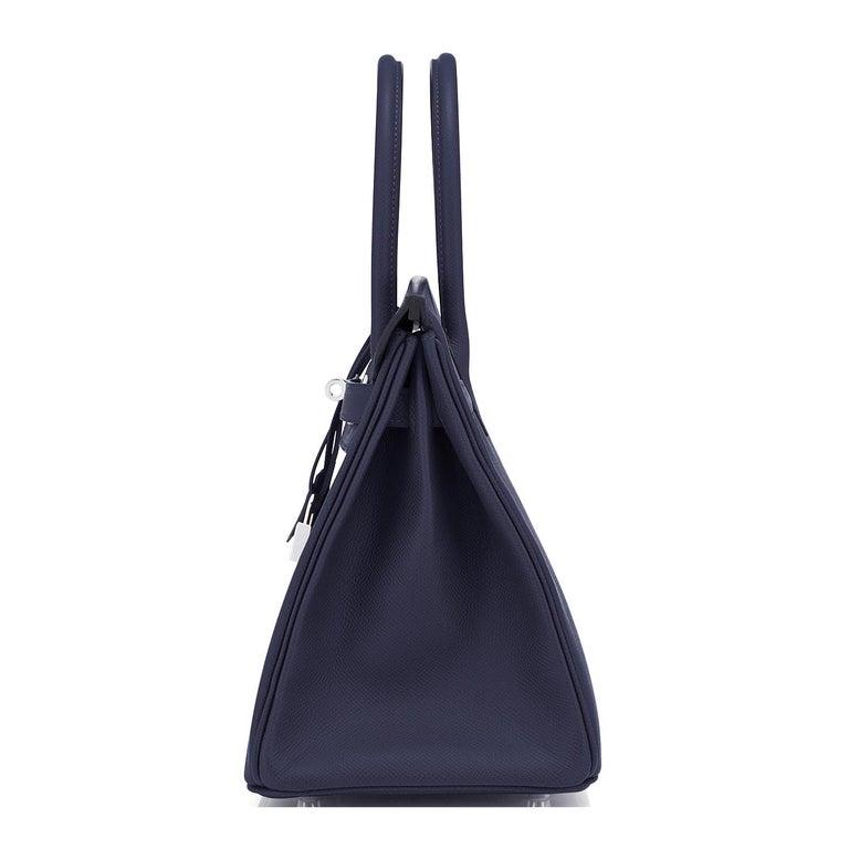 Hermes Birkin 30 Indigo Jewel Tone Navy Blue Epsom Palladium Bag Y Stamp, 2020 For Sale 2