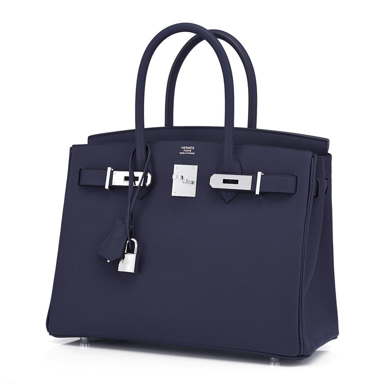 Hermes Birkin 30 Indigo Jewel Tone Navy Blue Epsom Palladium Bag Y Stamp, 2020 For Sale 4