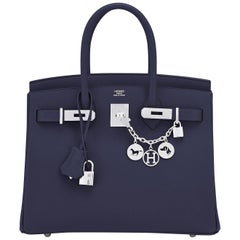 Hermes Birkin 30 Indigo Jewel Tone Navy Blue Epsom Palladium Bag Y Stamp, 2020