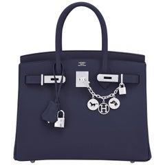 Hermes Birkin 30 Indigo Jewel Tone Navy Blue Epsom Palladium Bag Y Stamp, 2020
