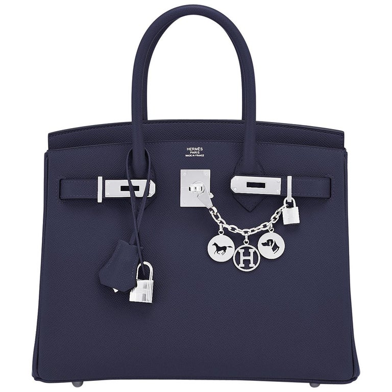 Hermes Birkin 30 Indigo Jewel Tone Navy Blue Epsom Palladium Bag Y Stamp, 2020 For Sale