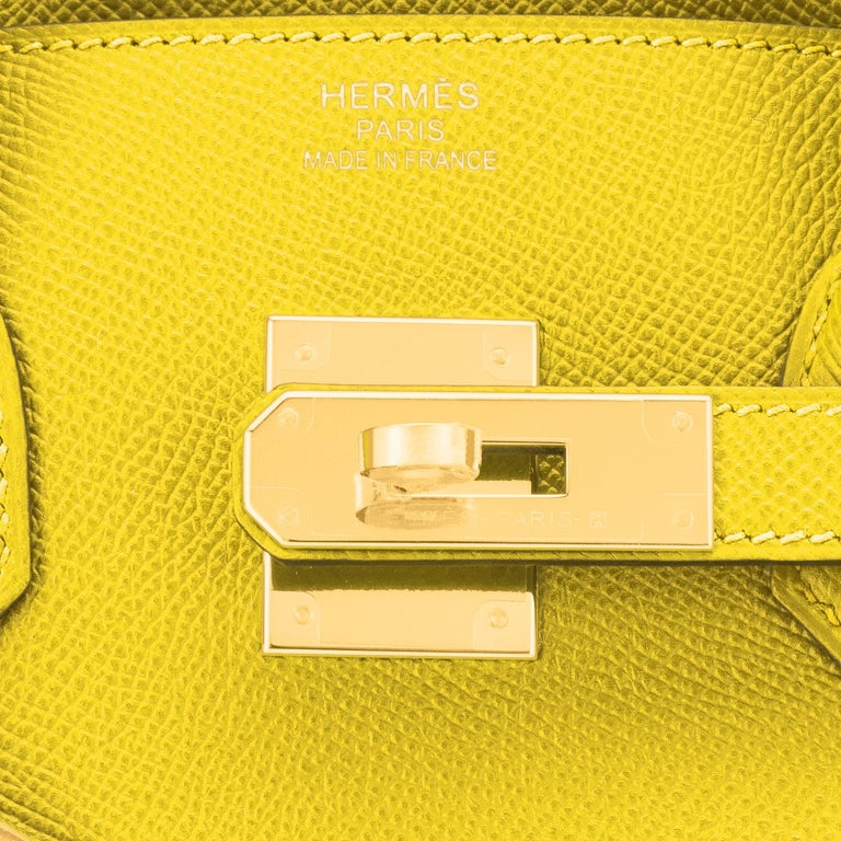 Hermes Birkin 30 Lime Fluo Yellow Epsom Gold Hardware Bag RARE Y Stamp, 2020  For Sale 6