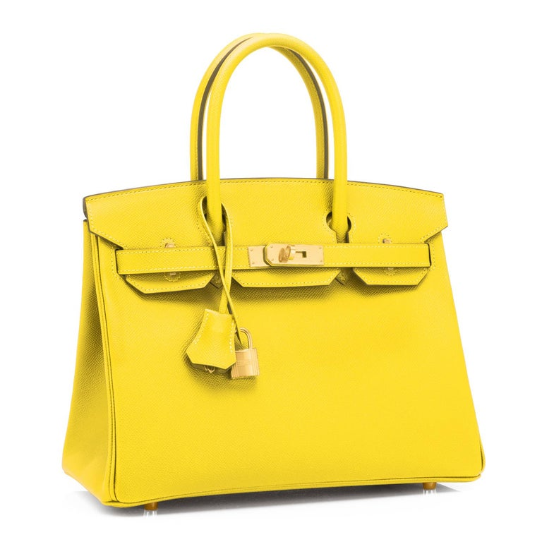 Hermes Birkin 30 Lime Fluo Yellow Epsom Gold Hardware Y Stamp, 2020 Just purchased from Hermes store; bag bears new interior 2020 Y Stamp. Brand New in Box. Store Fresh. Pristine condition (with plastic on hardware).  Perfect gift! Coming full set