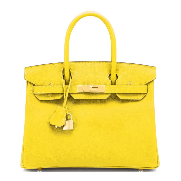 Hermes Birkin 30 Lime Fluo Yellow Epsom Gold Hardware Bag RARE Y Stamp, 2020  In New Condition For Sale In New York, NY