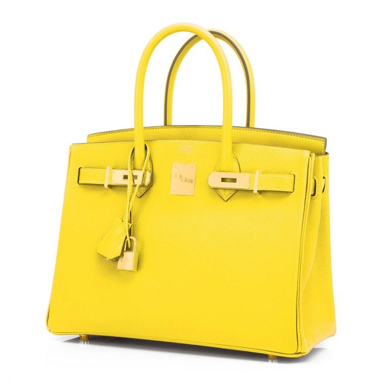 Women's or Men's Hermes Birkin 30 Lime Fluo Yellow Epsom Gold Hardware Bag RARE Y Stamp, 2020  For Sale