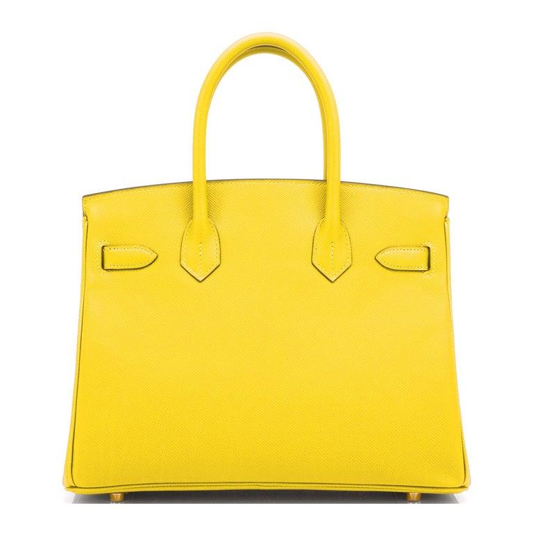 Hermes Birkin 30 Lime Fluo Yellow Epsom Gold Hardware Bag RARE Y Stamp, 2020  For Sale 2