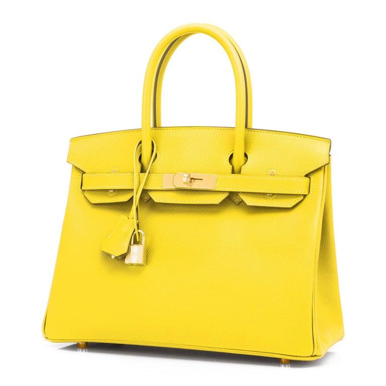 Hermes Birkin 30 Lime Fluo Yellow Epsom Gold Hardware Bag RARE Y Stamp, 2020  For Sale 3