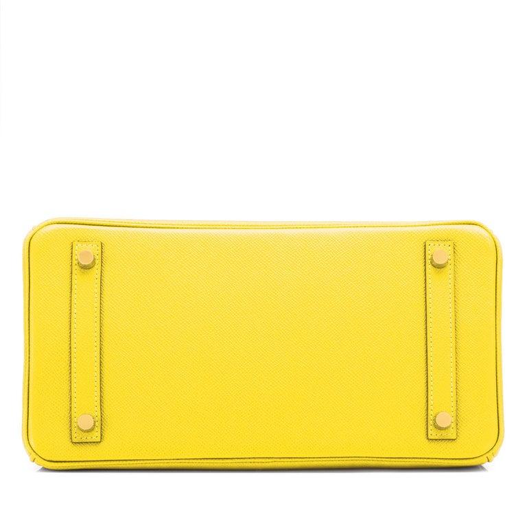 Hermes Birkin 30 Lime Fluo Yellow Epsom Gold Hardware Bag RARE Y Stamp, 2020  For Sale 4