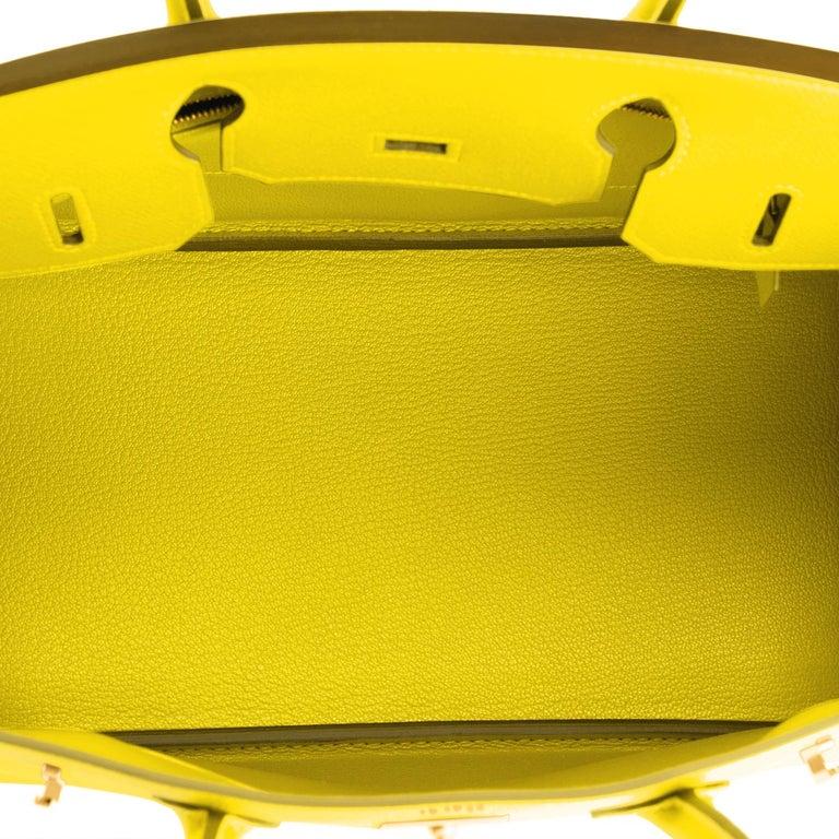 Hermes Birkin 30 Lime Fluo Yellow Epsom Gold Hardware Bag RARE Y Stamp, 2020  For Sale 5