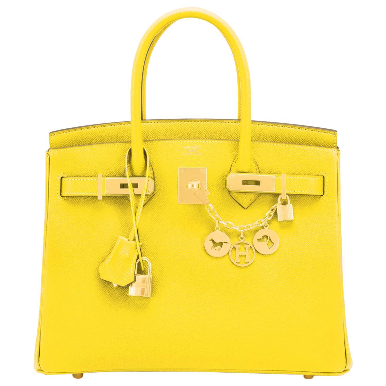 Hermes Birkin 30 Lime Fluo Yellow Epsom Gold Hardware Bag RARE Y Stamp, 2020