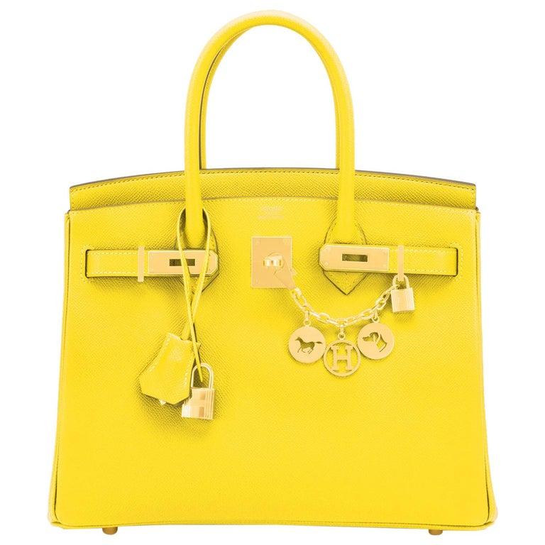 Hermes Birkin 30 Lime Fluo Yellow Epsom Gold Hardware Bag RARE Y Stamp, 2020  For Sale