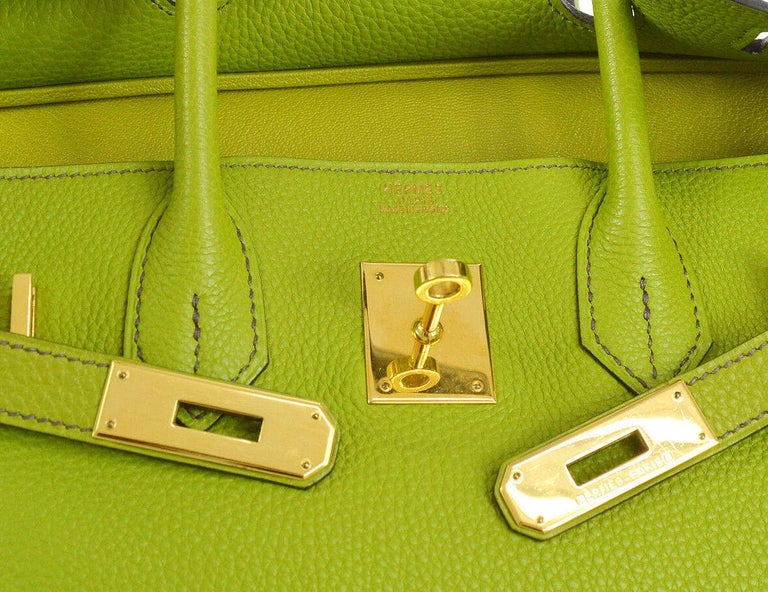 82124a075b Hermes Birkin 30 Lime Green Leather Silver Top Handle Satchel Tote Bag in  Box In Good
