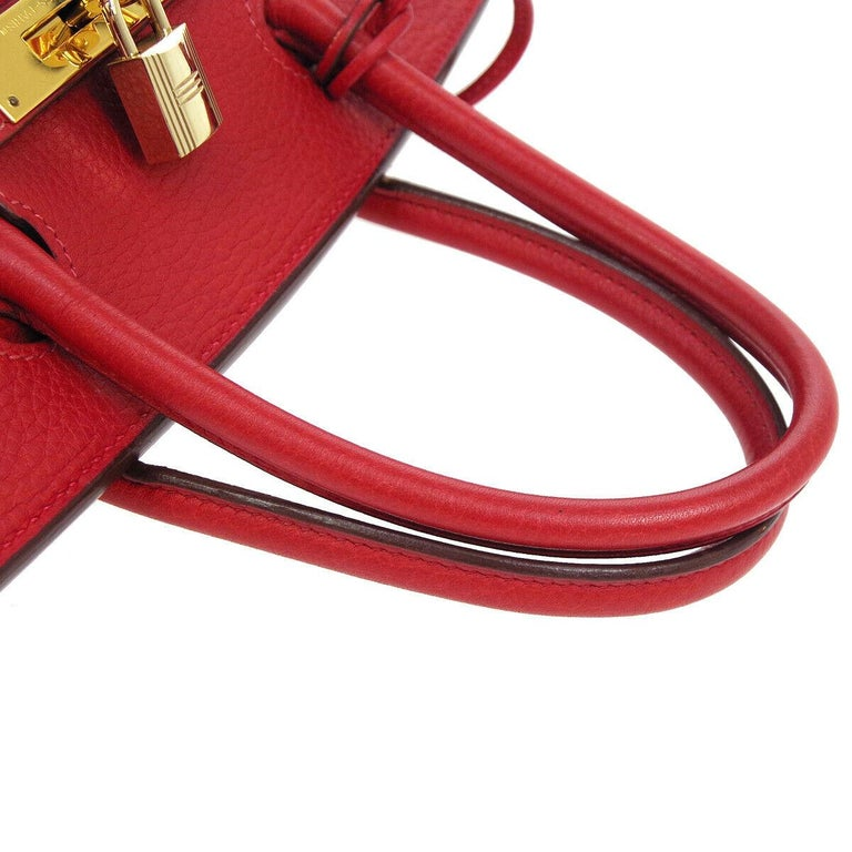 Hermes Birkin 30 Lipstick Red Leather Gold Top Handle Satchel Tote Bag  Leather Gold tone hardware Leather lining Date code present Made in France Handle drop 3.5
