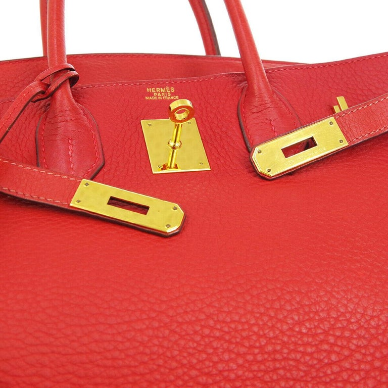 Hermes Birkin 30 Lipstick Red Leather Gold Top Handle Satchel Tote Bag  In Good Condition For Sale In Chicago, IL