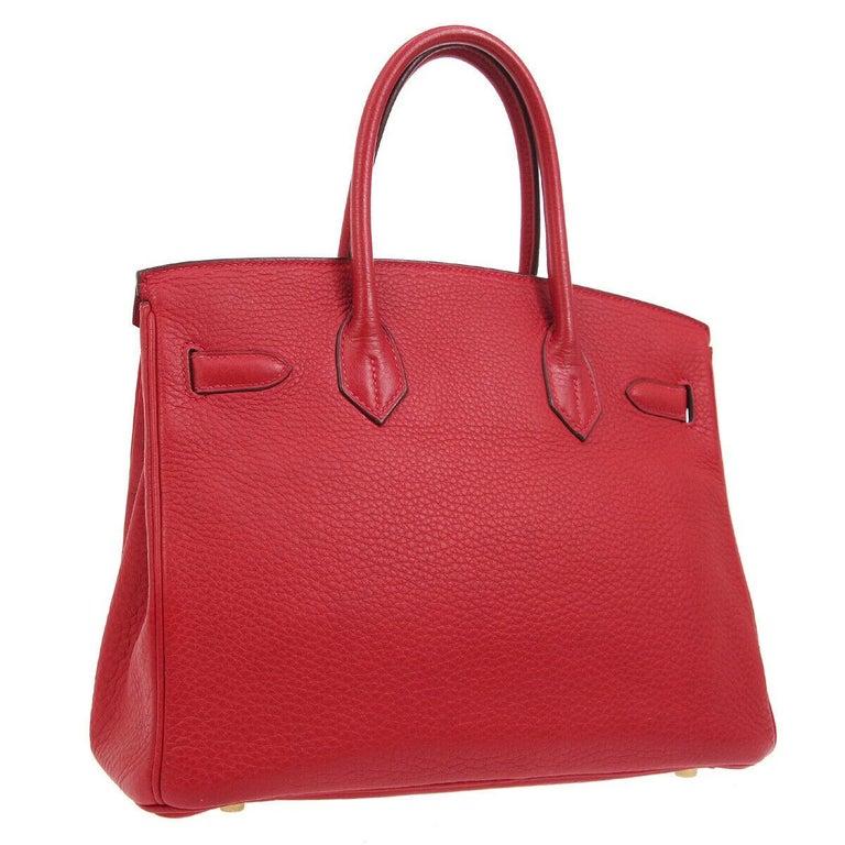 Women's Hermes Birkin 30 Lipstick Red Leather Gold Top Handle Satchel Tote Bag  For Sale