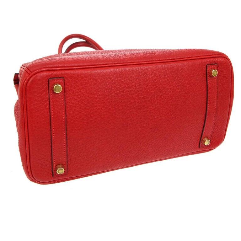 Hermes Birkin 30 Lipstick Red Leather Gold Top Handle Satchel Tote Bag  For Sale 1