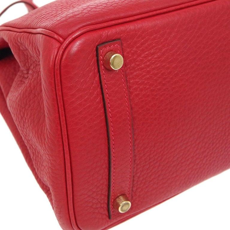 Hermes Birkin 30 Lipstick Red Leather Gold Top Handle Satchel Tote Bag  For Sale 2