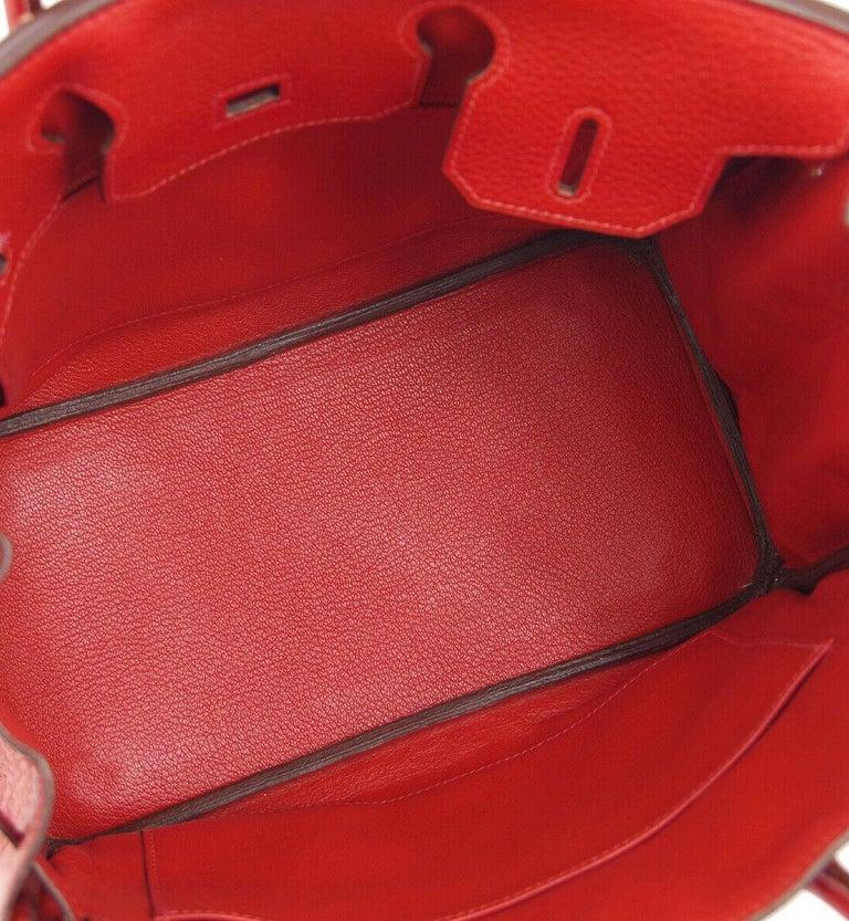 Hermes Birkin 30 Lipstick Red Leather Gold Top Handle Satchel Tote Bag  For Sale 3