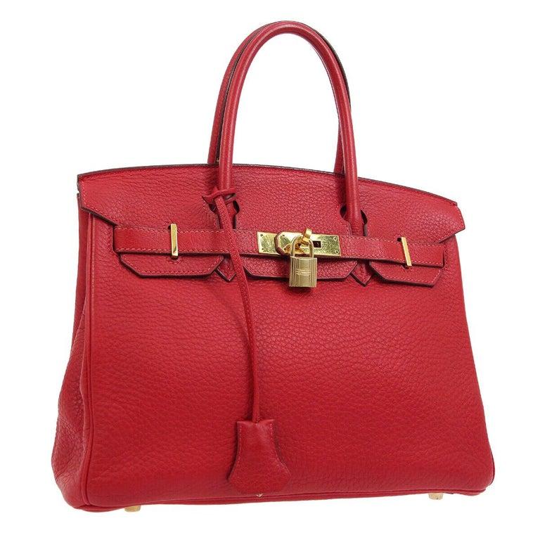 Hermes Birkin 30 Lipstick Red Leather Gold Top Handle Satchel Tote Bag  For Sale