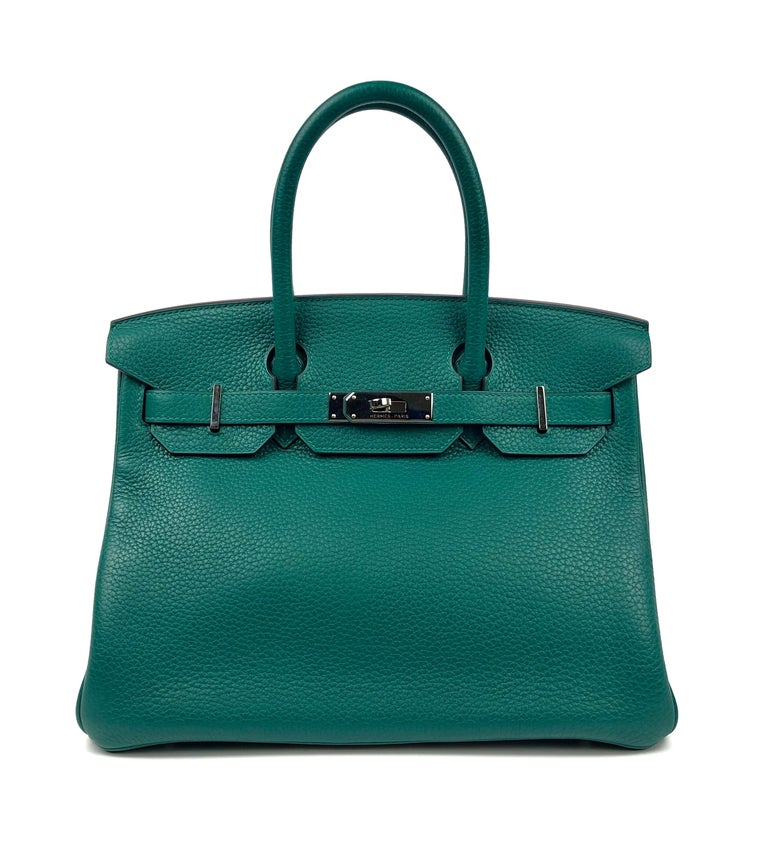 Hermes Birkin 30 Malachite Green Palladium Hardware. Excellent pristine condition, light hairlines on hardware, perfect corners and excellent structure. T Stamp 2015.  Shop with Confidence from Lux Addicts. Authenticity Guaranteed!