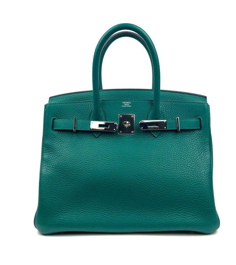 Hermes Birkin 30 Malachite Green Palladium Hardware In Excellent Condition For Sale In Lancaster, CA