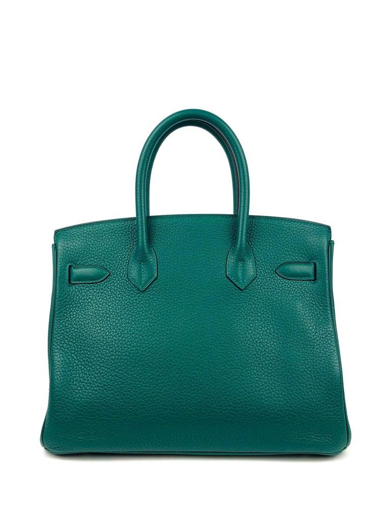 Women's or Men's Hermes Birkin 30 Malachite Green Palladium Hardware For Sale