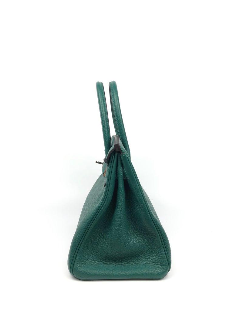 Hermes Birkin 30 Malachite Green Palladium Hardware For Sale 1