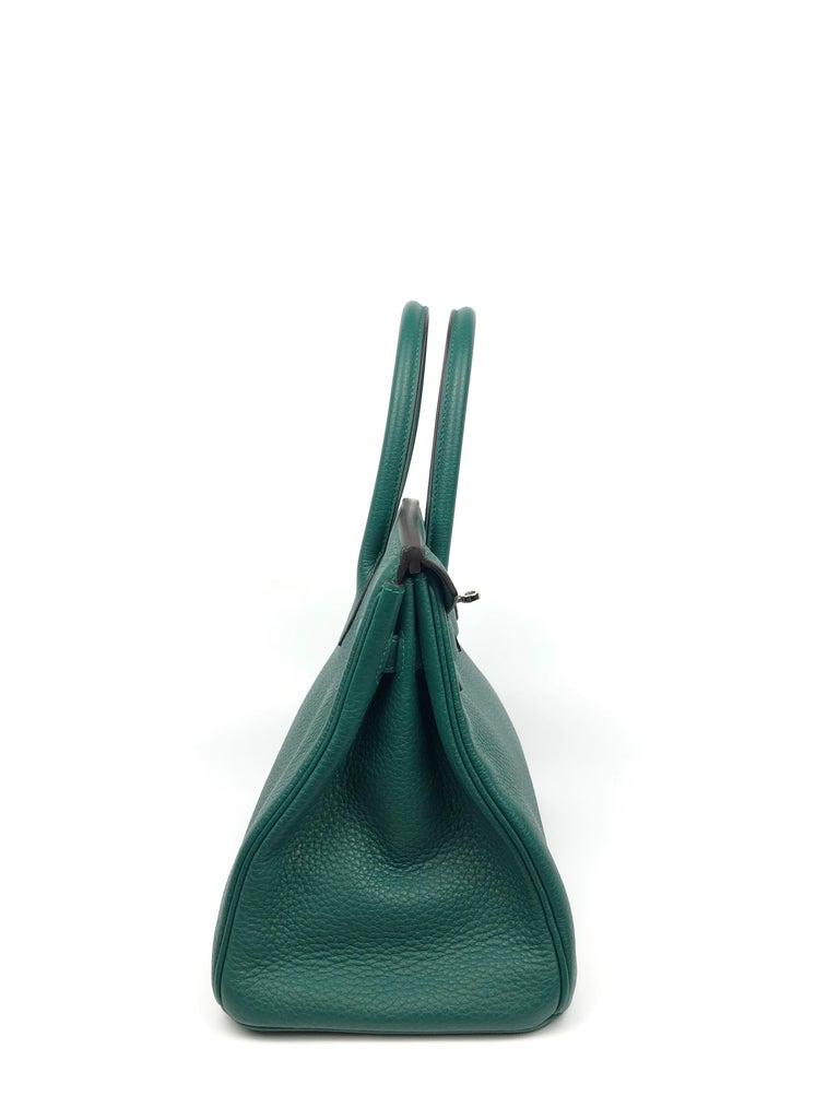 Hermes Birkin 30 Malachite Green Palladium Hardware For Sale 2