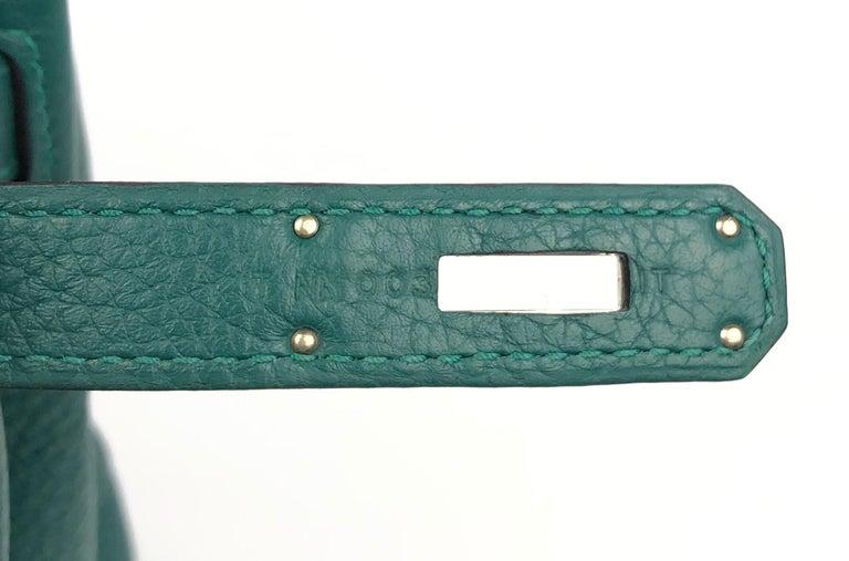 Hermes Birkin 30 Malachite Green Palladium Hardware For Sale 3
