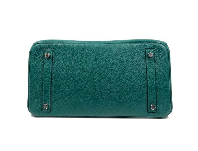 Hermes Birkin 30 Malachite Green Palladium Hardware For Sale 4