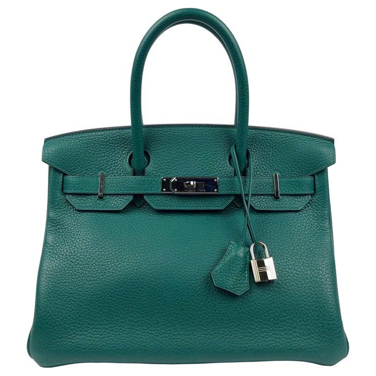 Hermes Birkin 30 Malachite Green Palladium Hardware For Sale
