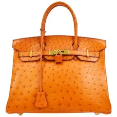 Hermes Birkin 30 Orange Exotic Ostrich Leather Gold Top Handle Satchel Tote Bag