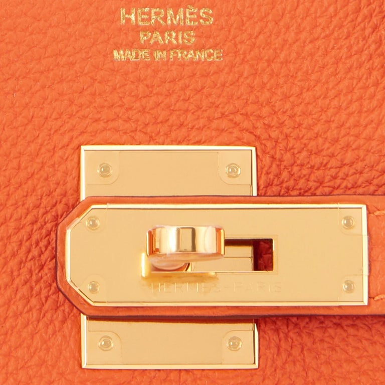 Hermes Birkin 30 Orange Feu Togo Birkin Gold Hardware NEW 7