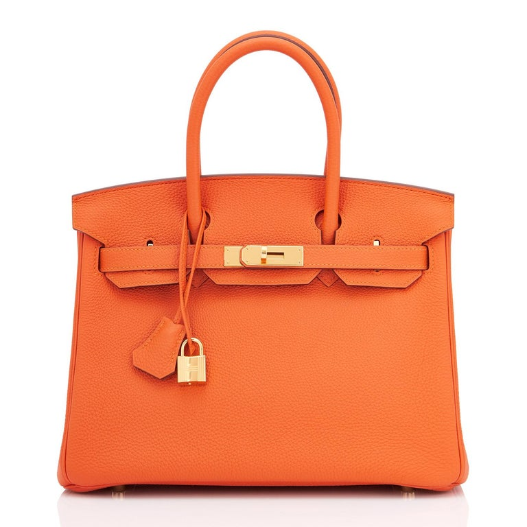 Red Hermes Birkin 30 Orange Feu Togo Birkin Gold Hardware NEW
