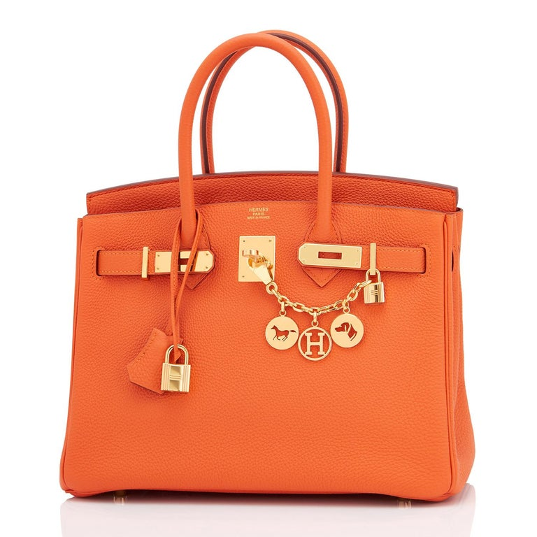 Hermes Birkin 30 Orange Feu Togo Birkin Gold Hardware NEW In New Condition In New York, NY
