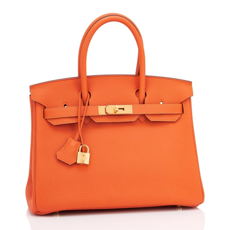 Hermes Birkin 30 Orange Feu Togo Birkin Gold Hardware NEW 1
