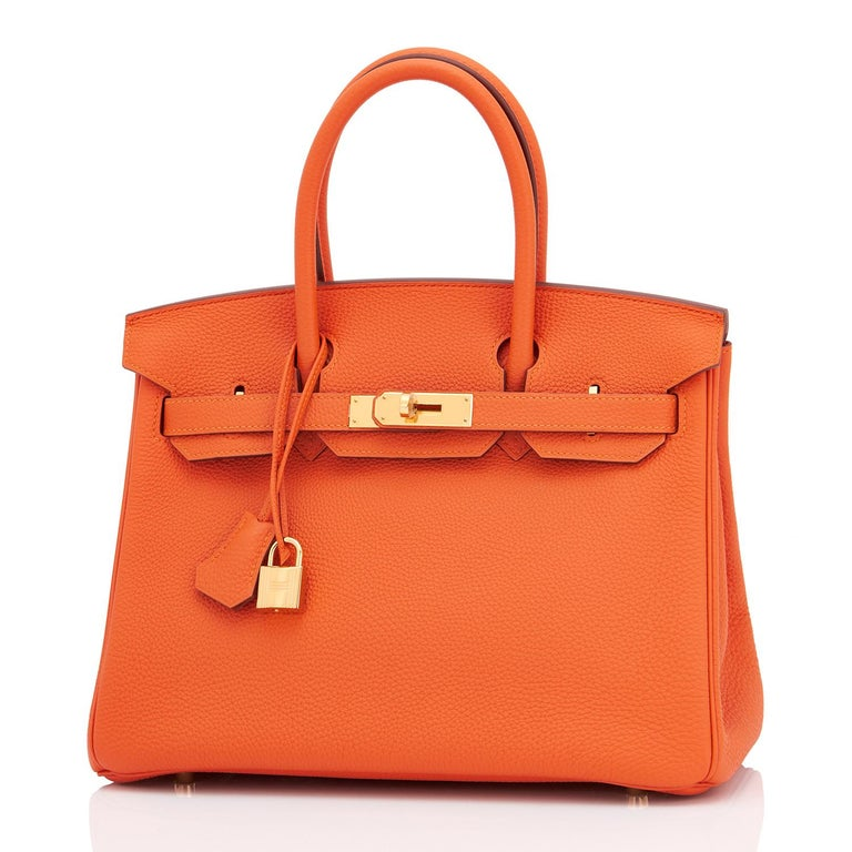 Hermes Birkin 30 Orange Feu Togo Birkin Gold Hardware NEW 3