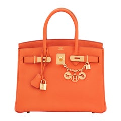 Hermes Birkin 30 Orange Feu Togo Birkin Gold Hardware NEW