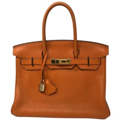 Hermes Birkin 30 Orange Gold Hardware Bag