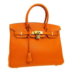 Hermes Birkin 30 Orange Leather Gold Top Handle Satchel Tote Bag