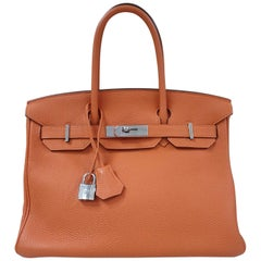Hermès Birkin 30 Orange Leather Handbag