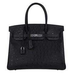 Hermes Birkin 30 Ostrich Bag Black Palladium Hardware Perfect Year Round Neutral